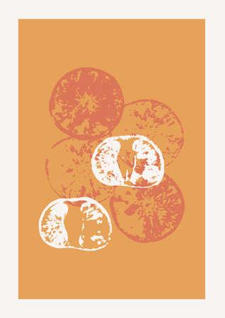 Christmas and Happy New Year Vector composition. Boho wall decor. Mid century modern minimalist art print. Organic natural shape. Mandarin and Orange Stamps.