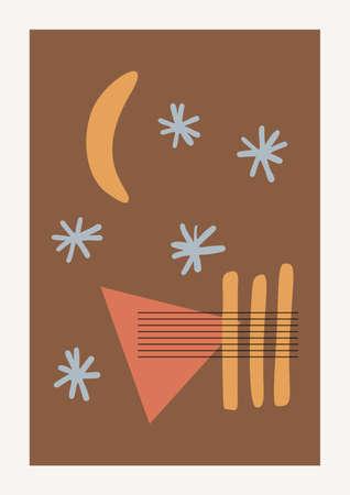 Christmas and Happy New Year Vector composition. Boho wall decor. Mid century modern minimalist art print. Organic natural shape. 向量圖像