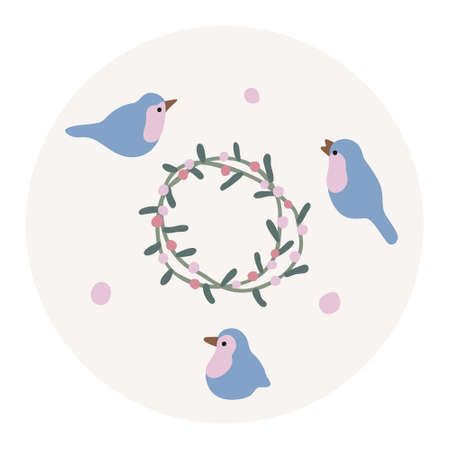 Winter & Christmas Vector highlight cover with abstract elements and shapes in Boho style. Background for social media stories. Minimalist Mid century modern. 向量圖像
