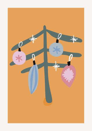Christmas Tree Vector composition. Boho wall decor. Mid century modern minimalist art print. Organic natural shape.