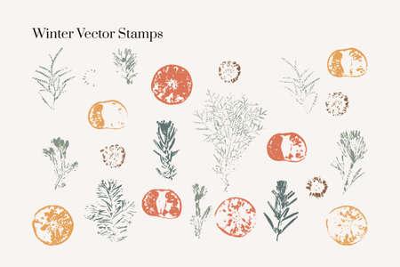 Christmas & New Year Vector Stamps. Boho isolated elements. Mid century modern minimalist art print. Organic natural shape. Ilustrace