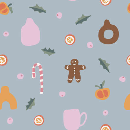 Seamless Christmas &  New Year  vector pattern. Perfect for wallpaper, gift paper, pattern fills, web page background, fall greeting cards.