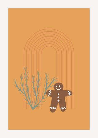 Christmas Tree, Arc and Gingerbread Man Vector composition. Boho wall decor. Mid century modern minimalist art print. Organic natural shape.