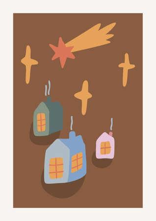 Christmas Houses, stars and comet Vector composition. Boho wall decor. Mid century modern minimalist art print. Organic natural shape.