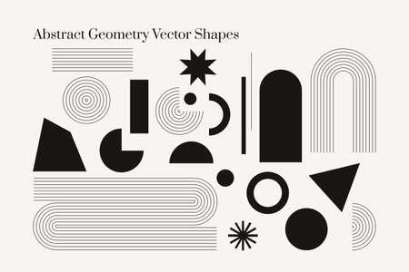 Vector Geometric Abstract shapes. Boho isolated elements. Mid century modern minimalist art print. Organic natural shape.