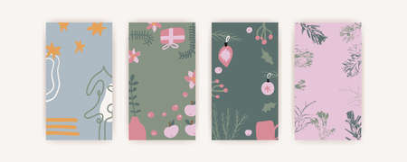Christmas and Happy New Year. Set of vector vertical backgrounds with abstract elements and shapes in Boho style. Background for mobile app stories minimalist Mid century modern.