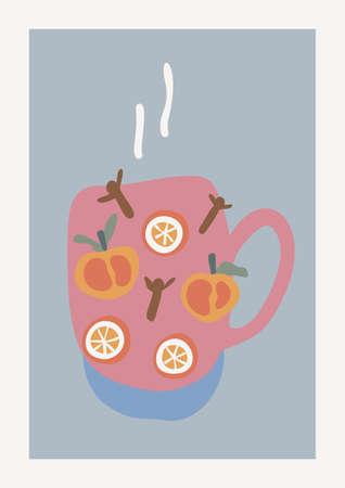 Christmas Punch, Orange, Mandarin, Clove Spices Vector composition. Boho wall decor. Mid century modern minimalist art print. Organic natural shape. Ilustrace