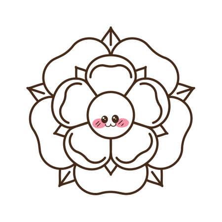 Tudor rose cartoon kawaii vector icon. Traditional heraldic emblem of England. Emoji clipart drawing. Roses of houses Lancaster and York.
