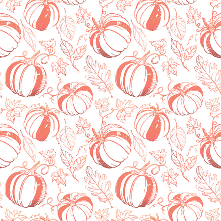 Seamless pattern.Grange pattern with stylized pumpkins and leaves in fall colors. Beautiful hand drawn vector elements. Decorative background for greeting cards, prints, flyer and so much more.