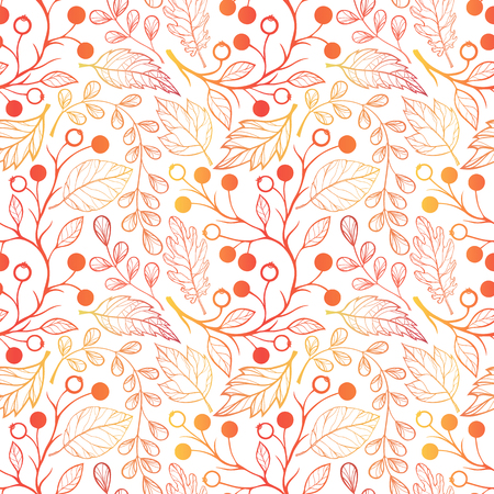 Seamless pattern. Bright pattern with leaves and berries in fall color. Beautiful hand drawn vector elements. Decorative background for greeting cards, prints, flyer and so much more.