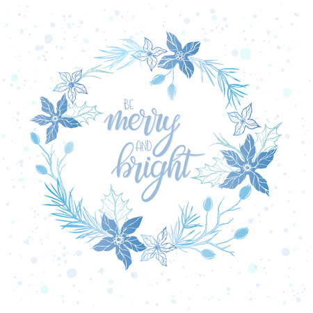 happy new year text: Christmas and New Year typography.Winter wreath and hand drawn lettering- be marry and bright - with floral elements and stylized snowflakes.Seasons greetings card designs perfect for prints, flyers,cards,invitations and more.
