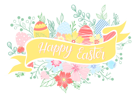 Easter typography.Happy Easter - hand drawn lettering with colorful eggs,floral elements and leaves. Seasons greetings card perfect for prints, flyers,banners,invitations,special offer and more.