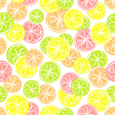 Seamless pattern with different slice citruses: grapefruit,lemon,lime,orange.Perfect for restaurant menu backdrop, healthy food concept, juice bar,cards and prints.Vector pattern with lemons and limes.