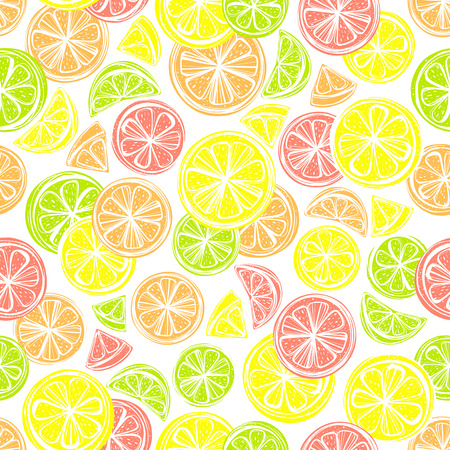 grapefruit juice: Seamless pattern with different slice citruses: grapefruit,lemon,lime,orange.Perfect for restaurant menu backdrop, healthy food concept, juice bar,cards and prints.Vector pattern with lemons and limes.