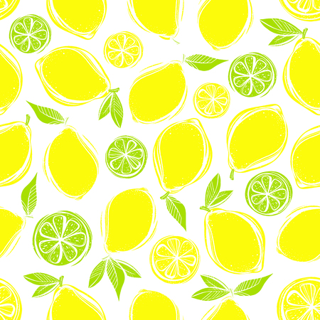 Seamless pattern of stylized hand drawn lemons and leaves.Perfect for restaurant menu backdrop, healthy food concept, juice bar,cards and prints.Vector illustration with lemons and limes.