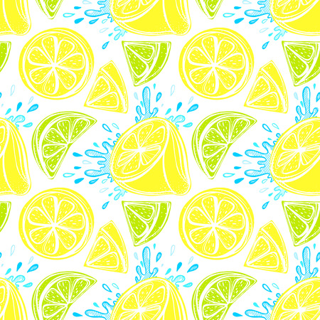 Seamless pattern of stylized hand drawn lemons and water splashes.Perfect for restaurant menu backdrop, healthy food concept, juice bar,cards and prints.Vector illustration with lemons and limes. Illustration