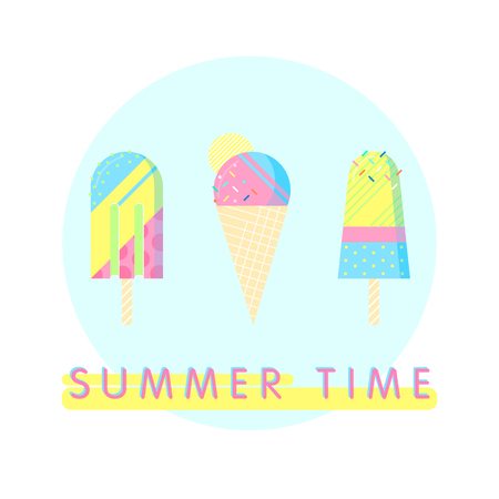 Colorful ice cream set with text - summer time.Perfect for restaurant menu backdrop, healthy food concept, ice cream bar and more,