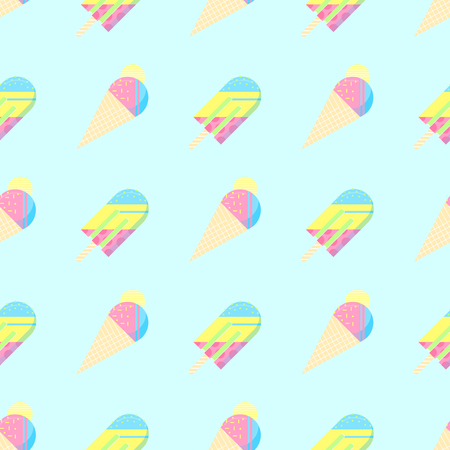 Seamless pattern.Colorful ice cream pattern perfect for restaurant menu backdrop.