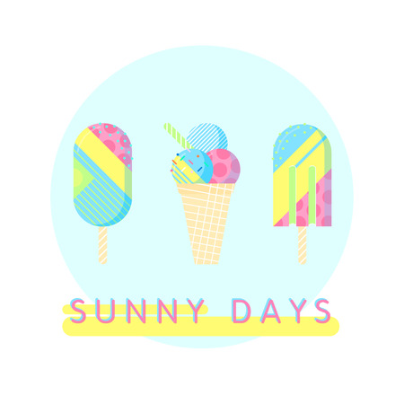 Colorful ice cream set with text - sunny days.Perfect for restaurant menu backdrop, food concept, ice cream bar,t-shirts,cards and prints.illustration with ice cream .