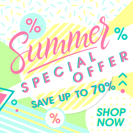 Summer special offer banner.Hand drawn lettering summer with geometric elements in memphis style. Sale season card perfect for prints, flyers,banners, promotion,special offer and more.