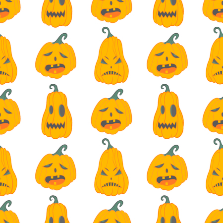 Halloween pattern with angry pumpkins.