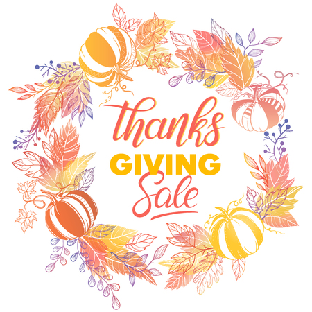 Thanksgiving special offer banner.Hand drawn lettering with leaves in fall colors.Sale season card perfect for prints, flyers,banners, promotion,special offer and more. Vector thanksgiving promotion. Ilustração