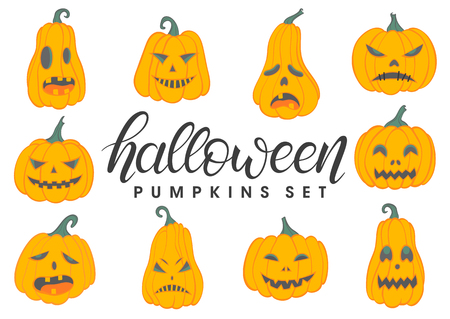 Halloween pumpkins set.Set of halloween pumpkins with different emotions.Perfect for prints, flyers, banners, invitations, greeting scrapbooking, stikers, congratulations and more.Vector Halloween illustration. Vettoriali