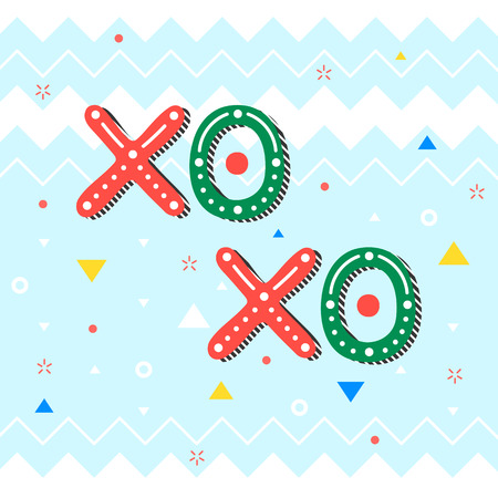 Christmas and New Year typography XO holidays greetings with swirls. Illustration