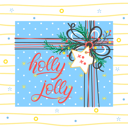 Christmas and New Year typography.Holly Jolly with present box, sparkles and snowflakes. Illustration