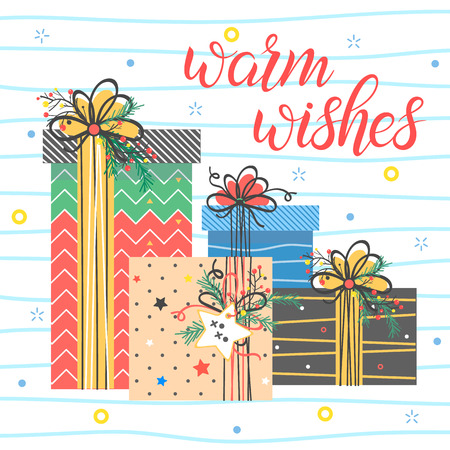 Christmas and New Year typography.Warm wishes - holidays greetings with colorful confetti and stars.