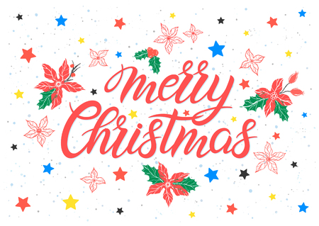 Christmas and New Year typography.Merry Christmas with branches and floral elements, snowflakes and stars. 일러스트