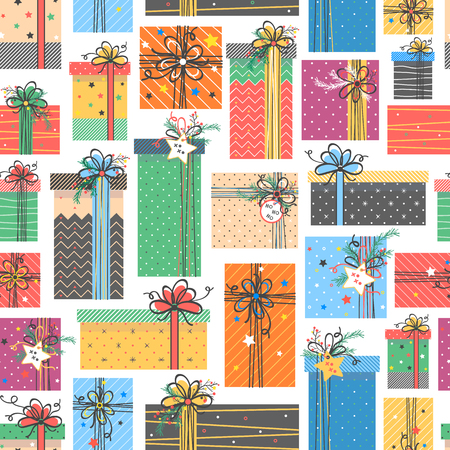 Christmas and New Year typography.Seamless pattern with different gift boxes.