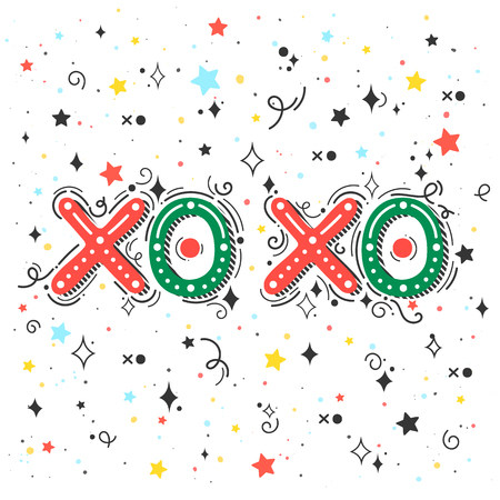 Christmas and New Year typography.XO XO holidays greetings with swirls.