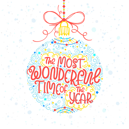 Christmas and New Year typography.Hand drawn lettering with snowflakes. Illustration