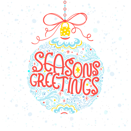 Christmas and New Year typography.Seasons Greetings.