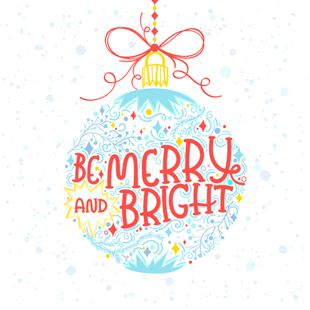 Christmas and New Year typography.Be marry and bright