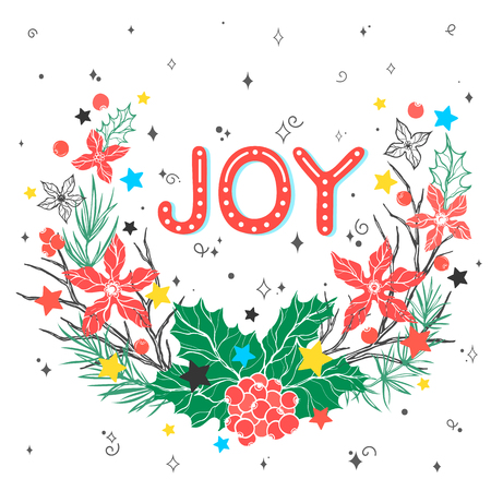 Christmas and New Year typography.Joy and christmas wreath with swirls, sparkles and stars. Ilustração