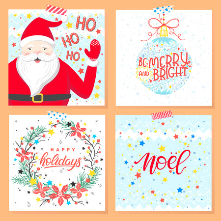 Christmas and New Year typography.Set of holidays cards with greetings, santa,christmas ball,wreath,snowflakes and stars. Illustration