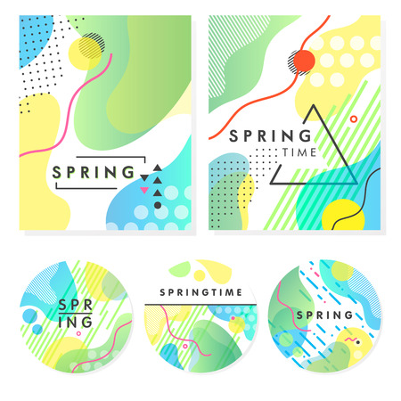 Set of unique artistic spring cards with bright gradient background, shapes and geometric elements in memphis style.