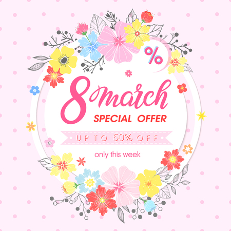 Woman`s day promotion hand painted lettering with different flowers and floral elements. Sale season card perfect for flyers, posters, sale banners, brochures, special offers and more vector.