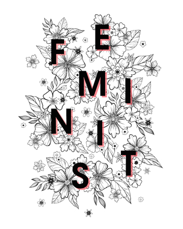 Feminism quote and woman motivational slogan. Womans vector concept. Illustration