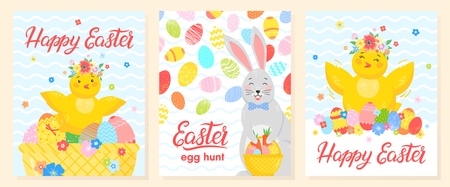Set of creative Easter cards.Hand drawn lettering