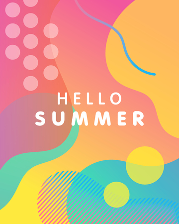 Unique artistic design card - hello summer with bright gradient background,shapes and geometric elements in memphis style.Bright poster perfect for prints,flyers,banners,invitations,special offer and more.