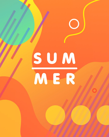 Unique artistic design card - summer with bright gradient background,shapes and geometric elements in memphis style.Bright poster perfect for prints,flyers,banners,invitations,special offer and more.