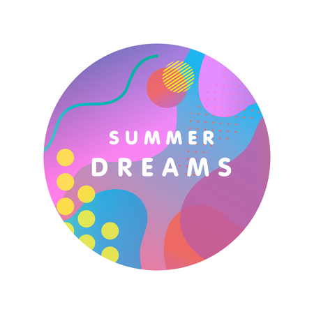 Unique artistic design card - summer dreams with bright gradient background,shapes and geometric elements in memphis style.Bright poster perfect for prints,flyers,banners,invitations,special offer and more. Ilustrace