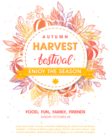Autumn harvest festival poster with harvest symbols, leaves and floral elements in fall colors.Harvest fest design perfect for prints, flyers,banners,invitations and more.Vector autumn illustration. 일러스트