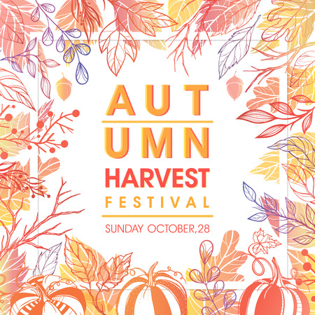 Autumn harvest festival poster with harvest symbols, leaves and floral elements in fall colors.Harvest fest design perfect for prints, flyers,banners,invitations and more.Vector autumn illustration. Illustration