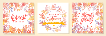 Autumn seasonals postes with autumn leaves and floral elements in fall colors.Autumn greetings cards perfect for prints,flyers,banners,invitations,promotions and more.Vector autumn illustration.