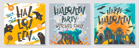 Collection of Halloween greetings with lettering,witch cauldron,zombie hands,cemetery,moon and bats.Perfect for prints,party flyers,cards,promos,invitations and more.Vector Halloween illustrations.