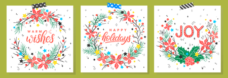 Christmas and New Year typography.Set of holidays cards with greetings,wreaths and stars.Seasons greetings perfect for prints, flyers,cards,invitations and more.Vector holidays illustrations.